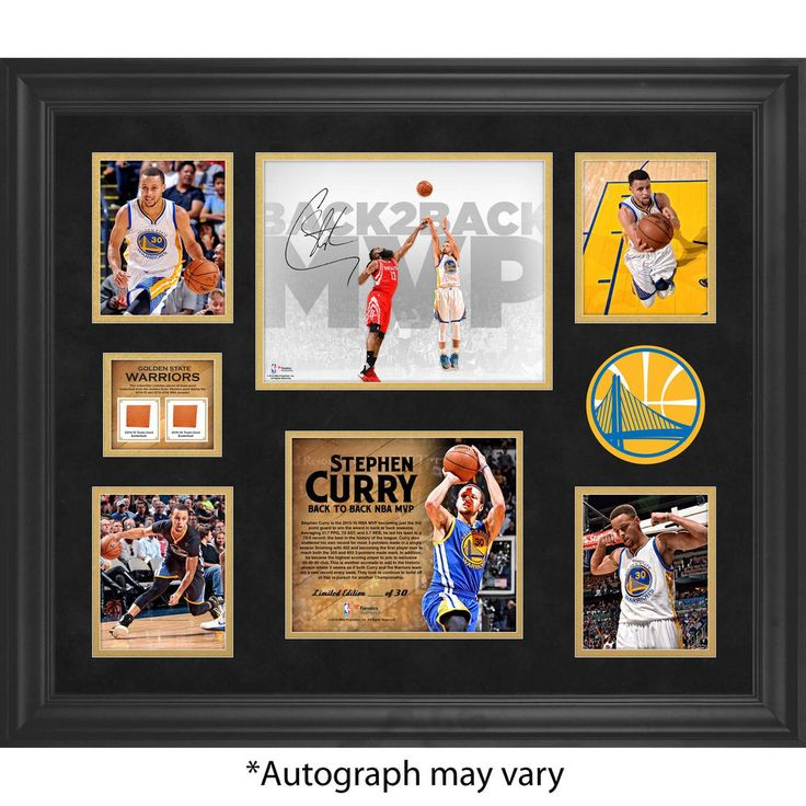 """Autographed Golden State Warriors Stephen Curry Fanatics Authentic Framed 20"""" x 24"""" Back to Back MVP Collage with Team-Used Basketball from both MVP Seasons - Limited Edition of 30"""