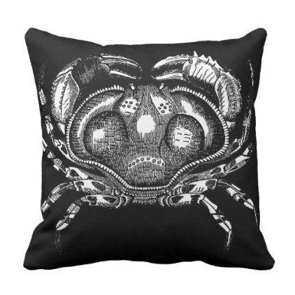 Vintage Crab Black Cushion Cover - vintage gifts retro ideas cyo