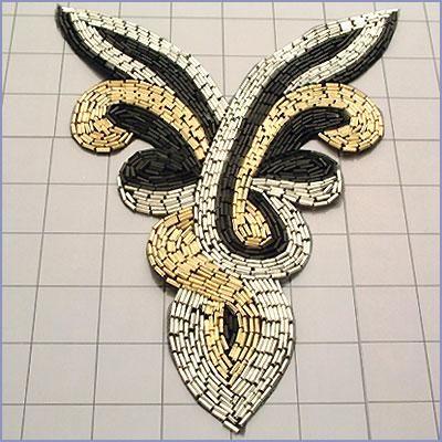 FS2083  Silver Black Gold Yoke Collar Beaded Applique 8
