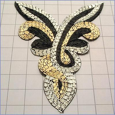 FS2083  Silver Black Gold Yoke Collar Beaded Applique 8