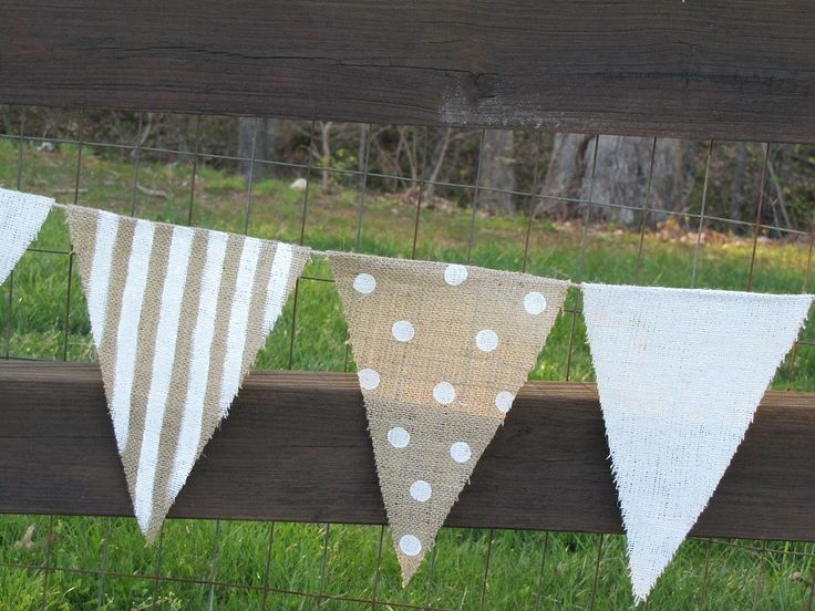 9 foot burlap Party Banner garland bunting pennant flag. $50.00, via Etsy.