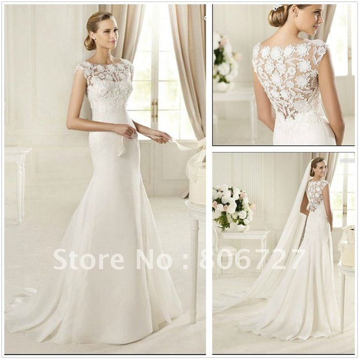 Unique  Hot Selling Mermaid Sweep Train Satin And Flower Pattern Irish Lace Wedding Dresses on AliExpress