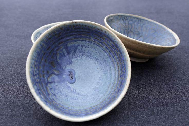Stoneware bowls, cobolt slip with ash sprayed over a calcium matt glaze