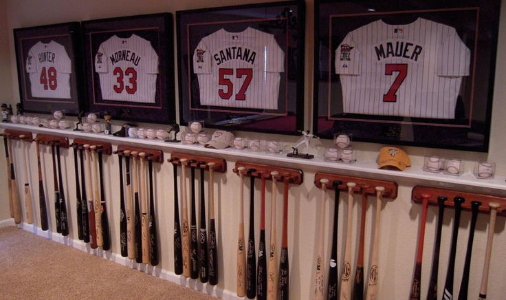 Good idea for framing jerseys and displaying bats and baseballs