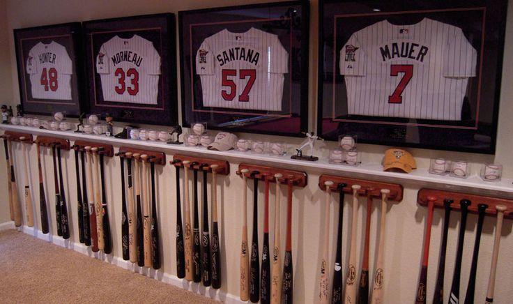 Good idea for framing jerseys and displaying bats and baseballs
