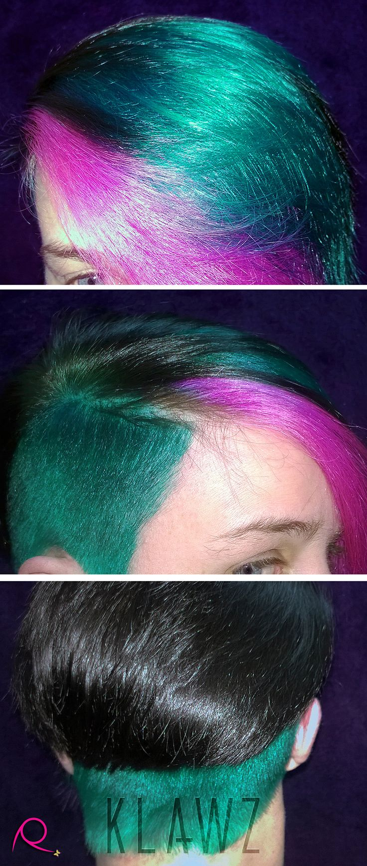 Funky Coloured Hair - Black, Green and Pink