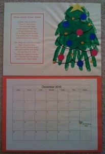 Calendar with handprints for every month