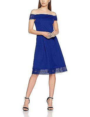 18, Blue, Dorothy Perkins Women's Lace Scuba Fit and Flare Dress NEW