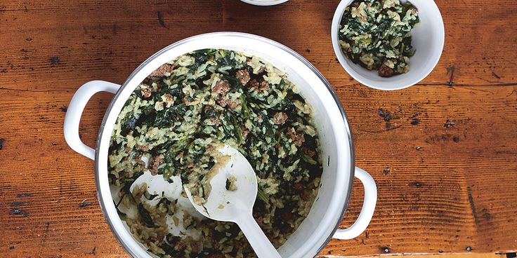 Spinach with Rice - add some other veggies