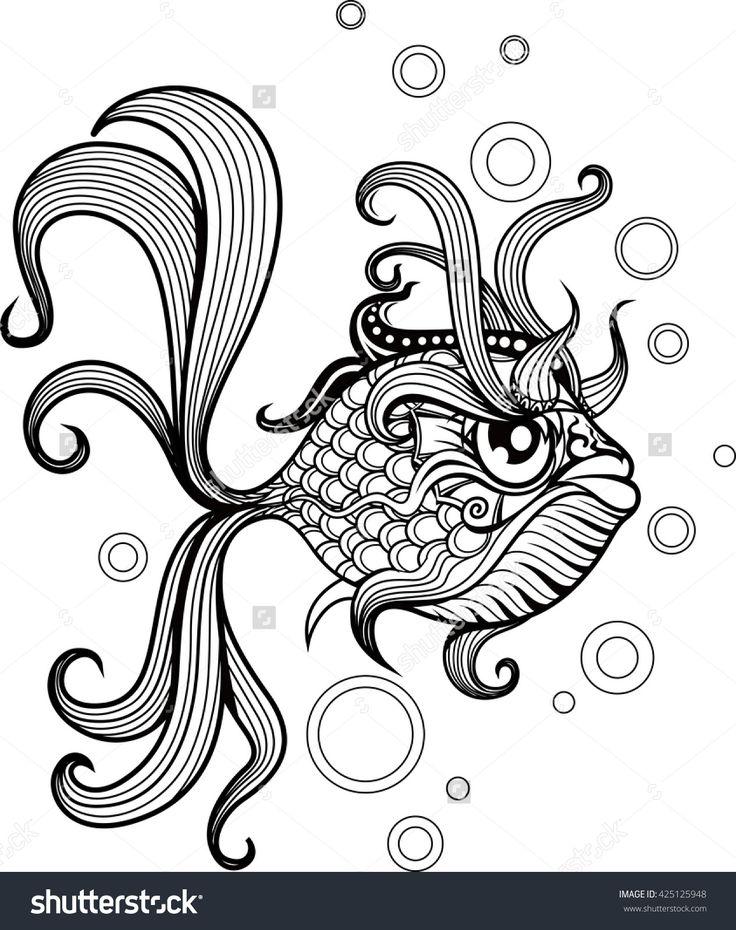 Zentangle stylized Gold Fish. Gold Fish zentangle Hand Drawn.Gold Fish patterned, zentangle Gold Fish vector illustration. zentangle Gold Fish sketch for tattoo design or makhenda. Sea art collection.
