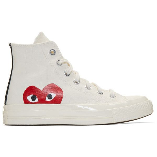 Comme des Garçons Play Off-White Converse Edition Chuck Taylor... ($140) ❤ liked on Polyvore featuring shoes, sneakers, beige, high top trainers, rubber shoes, off white shoes, hi tops and laced up shoes