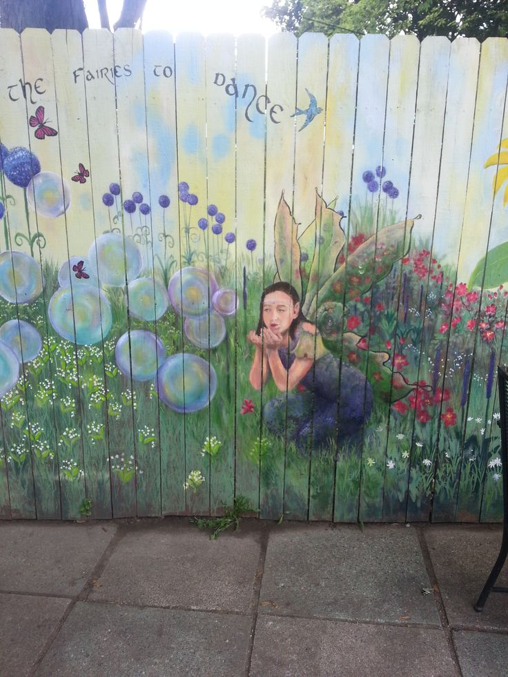 Fairy blowing bubbles in garden mural fence murals for Fairy garden mural
