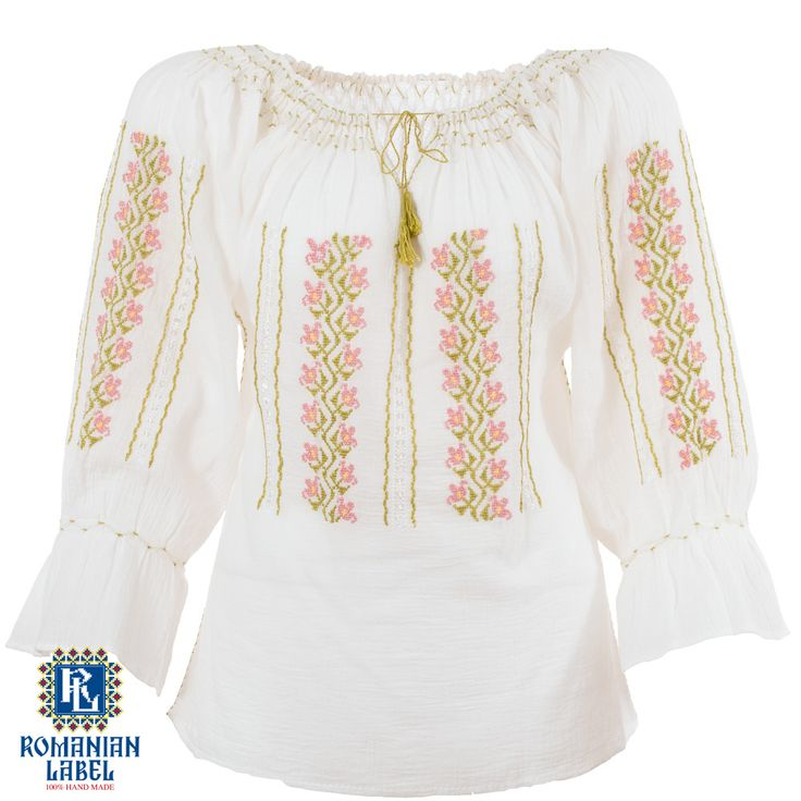$84.20 A 100% hand made traditional blouse, exclusively tailored out of natural materials, such as white cotton, green, yellow, pink embroidery.