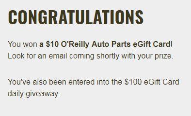 17,535 winners! O'Reilly Auto Parts Gift Card Instant Win   LINK HERE>> https://www.freebiequeen13.net/oreilly-auto-parts-gift-card-instant-win.html