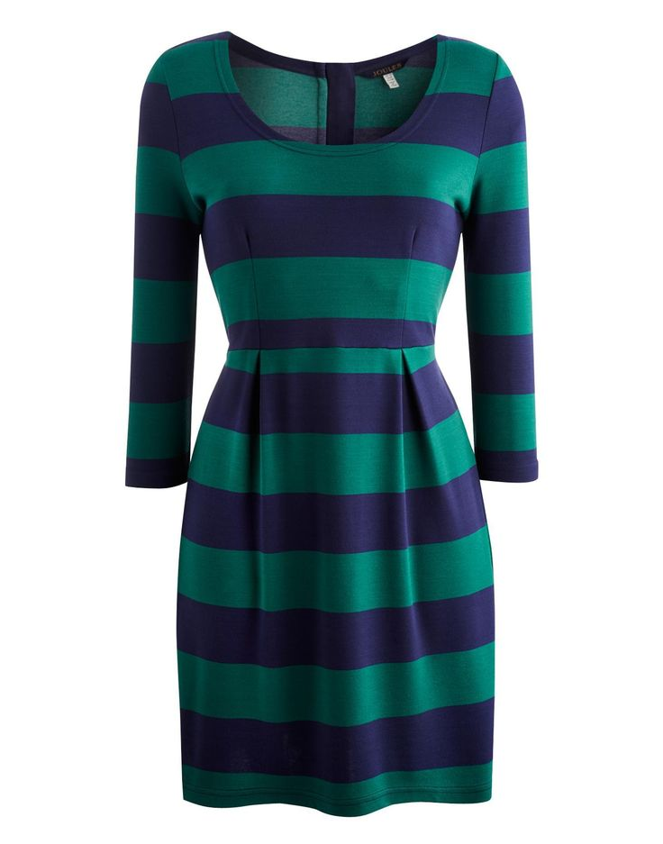 Joules Womens Striped Tunic, Green Stripe.                     In eye catching stripes and a warm, heavyweight fabric, this is a real stand out from the crowd tunic.  With darts to the waist the cut is a figure flattering shape and finished with an exposed zip to the back.