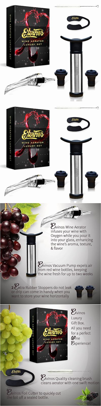 Bottle Stoppers and Corks 63503: Elvinos Premium Wine Aerator Wine Vacuum Pump Saver Wine Pourer Spout Set New -> BUY IT NOW ONLY: $69.56 on eBay!