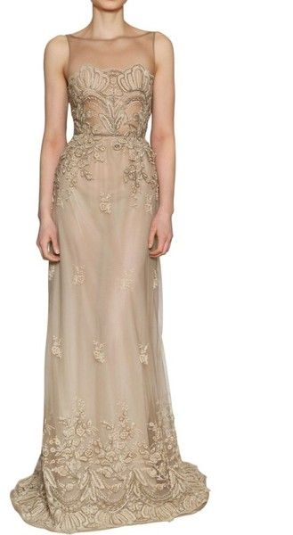 Luisa Beccaria Lace On Silk Tulle Long Dress in Beige (I hate