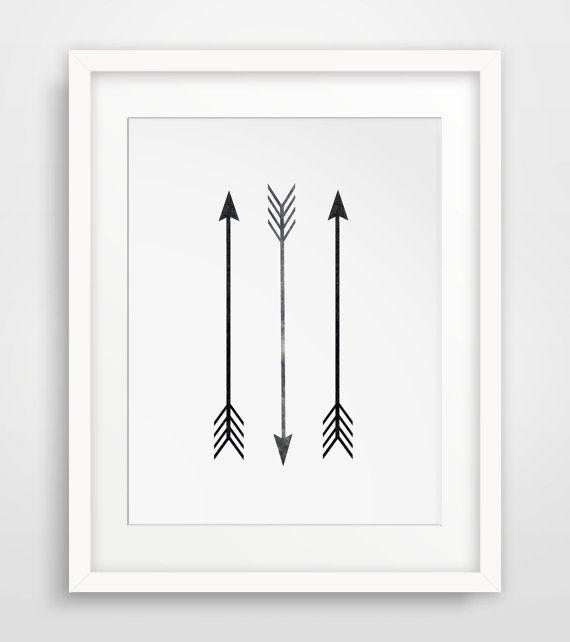 Etsy - $5.00 - Printable Art, Arrow Print, Arrow Decor, Black and White, Three Straight Arrows Art, Downloadable Arrow Print, Wall Print, Three Arrows