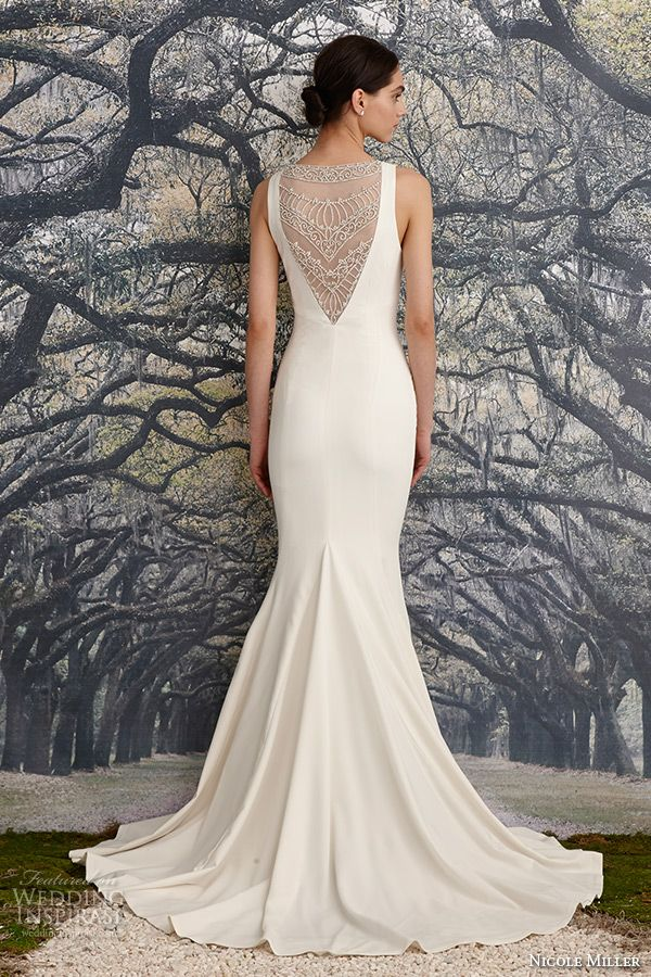 nicole miller spring 2016 bridal strap v neckline beaded corded lace sheath wedding dress jules back