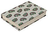Sari Writing Journal/Travel Diary  Last Minute Deals on Holiday Christmas Gifts  Handmade Gray Crepe Fabric Wrapped Hardcover  Pink & Green Block-Printed Paisley Poets Notebook/Scrapbook