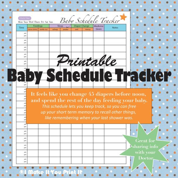Printable Baby Schedule Tracker and Twins by IMakeItYouPrintIt