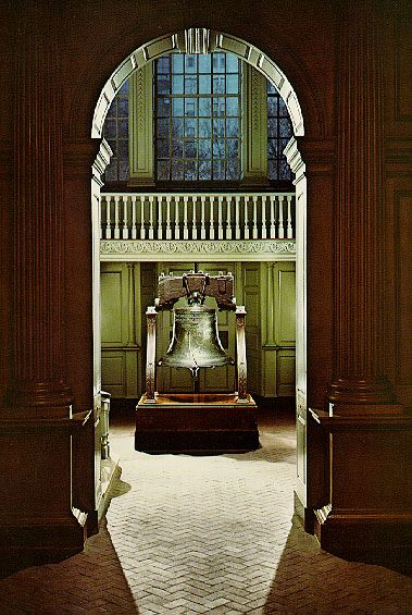 The Liberty Bell. Pictured is Independence Hall, the Liberty Bell's old home, before 1976. The Liberty Bell is an iconic symbol of American independence, located in Philadelphia, Pennsylvania. Formerly placed in the steeple of the Pennsylvania State House (now renamed Independence Hall), the bell was commissioned from the London firm of Lester and Pack (today the Whitechapel Bell Foundry) in 1752.