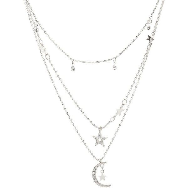 Charlotte Russe Moon & Stars Layering Necklaces - 3 Pack (€5,34) ❤ liked on Polyvore featuring jewelry, necklaces, accessories, silver, layered chain necklace, multi layer necklace, star charms, lobster claw clasp charms and rhinestone jewelry