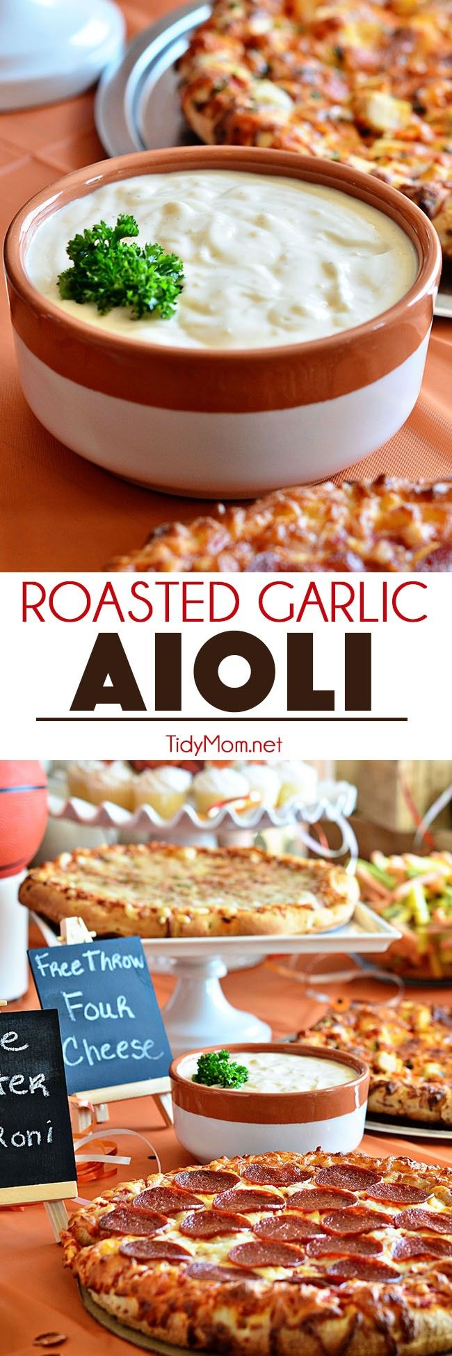 Serve ROASTED GARLIC AIOLI along side, pizza, french fries, veggies and so much more! Aioli recipe and basketball pizza party details at TidyMom.net @digiorno