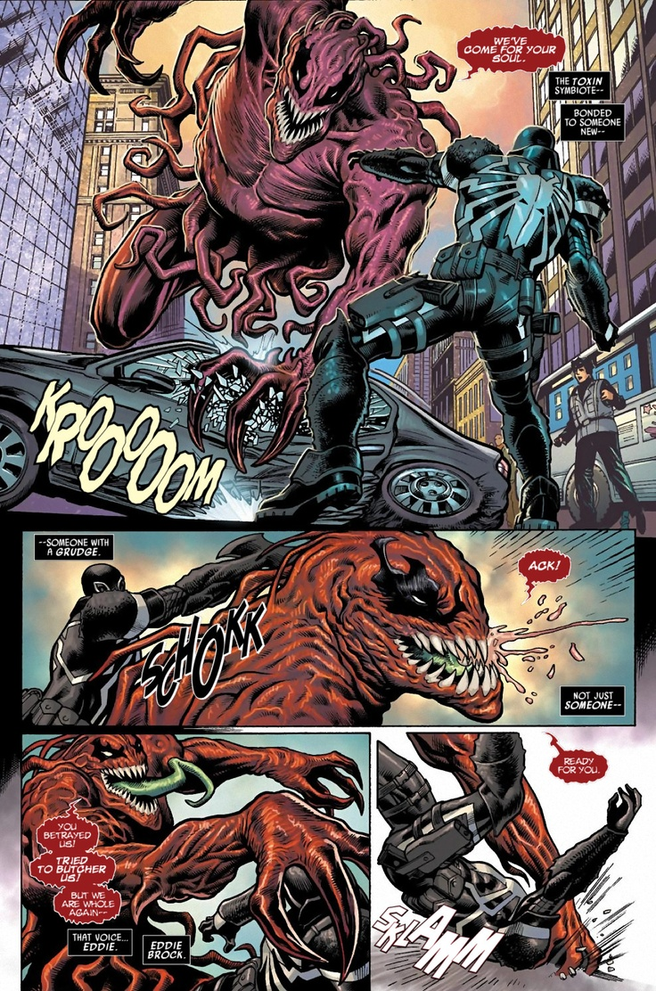 So, the Toxin symbiote has bonded to Eddie Brock, the second person to bond to the Venom symbiote, which is now bonded to Flash Thompson, who is now fighting as Agent Venom against Eddie Brock as Toxin. Where's Spider-Man in all this?!