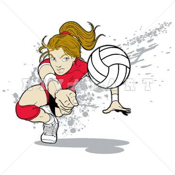 Sports Clipart Image of A Female Volleyball Player Bumping http://www.rivalart.com/cart/pc/viewCategories.asp?idCategory=33&opid=5