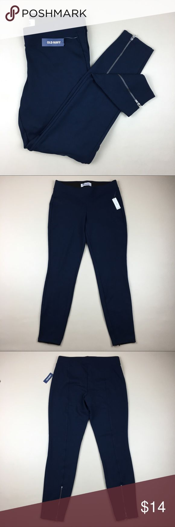 NWT Old Navy Super Skinny Ankle Zip Thick Leggings NWT Old Navy Super Skinny Ankle Zip Thick Leggings Navy Blue Size Medium Old Navy Pants Leggings