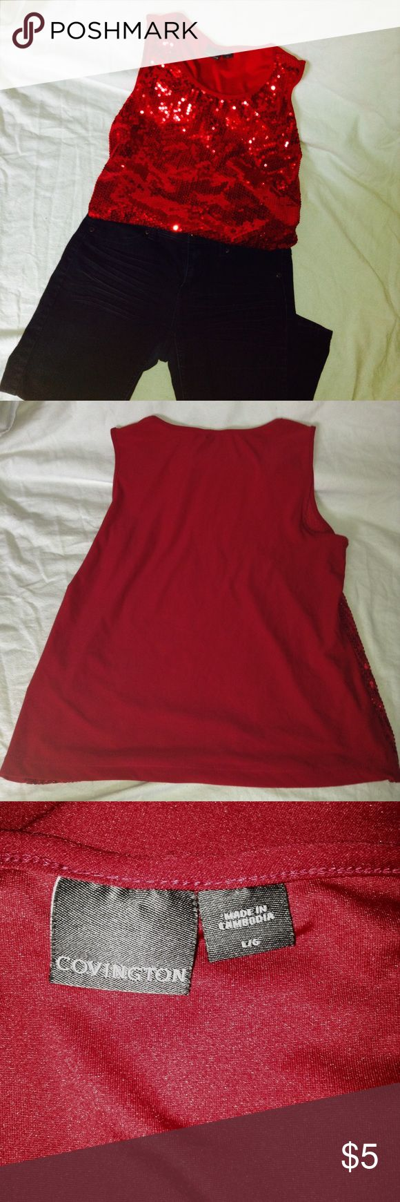 Sparkly Red tank top Like new sparkly red top. Worn once for Sharpay Halloween costume last year. Feel free to ask questions, make offers, and bundle! Tops Tank Tops