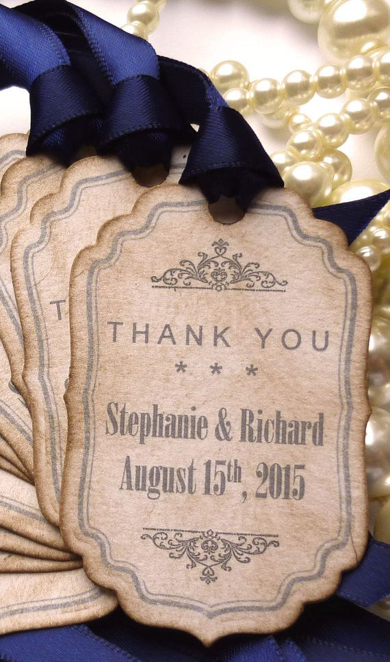 Navy Thank You Tags, Wedding Favors, Personalised Labels, Bride and ...