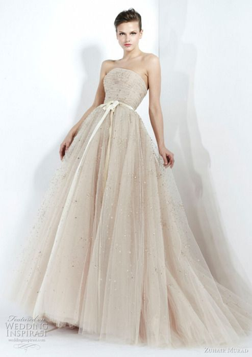 zuhair murad fall 2011 wedding dress beautiful tulle strapless ball gown; below,