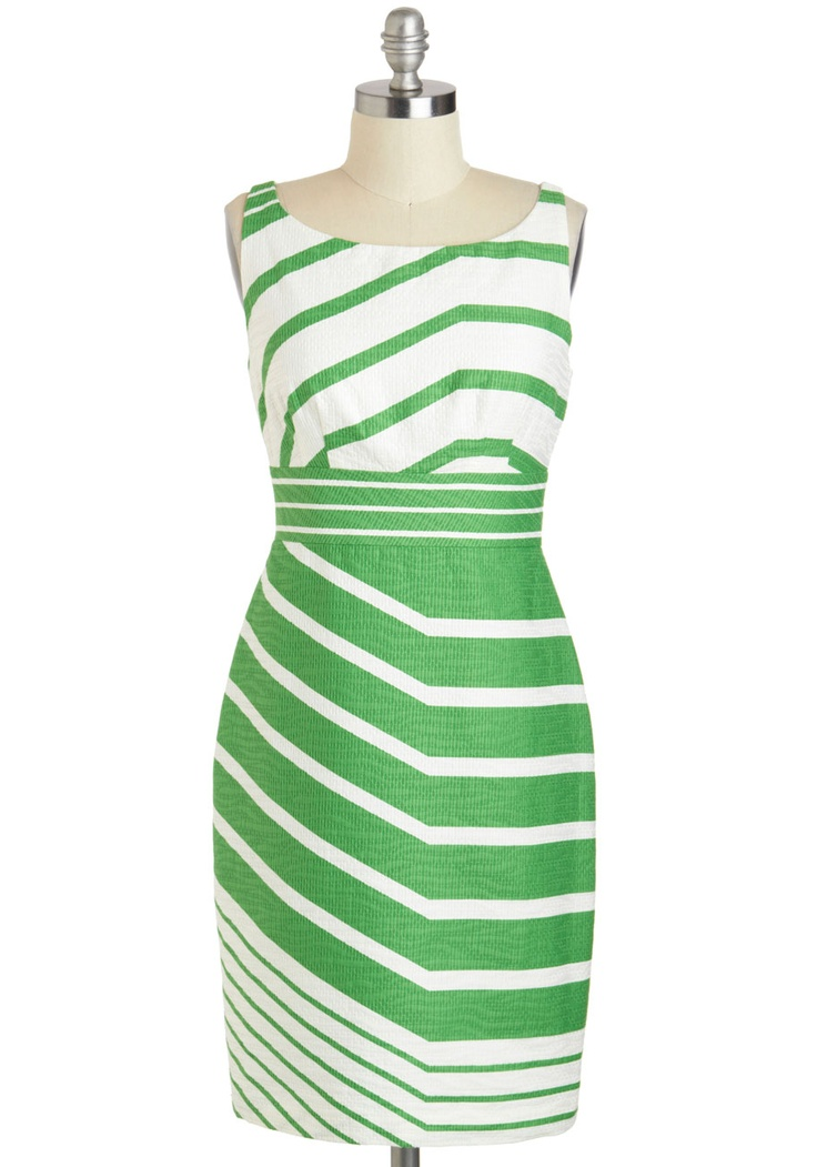 A Fresh Direction Dress - Cotton, Mid-length, Green, White, Stripes, Sheath / Shift, Sleeveless, Boat, Work, Daytime Party, Vintage Inspired, 60s, Mod