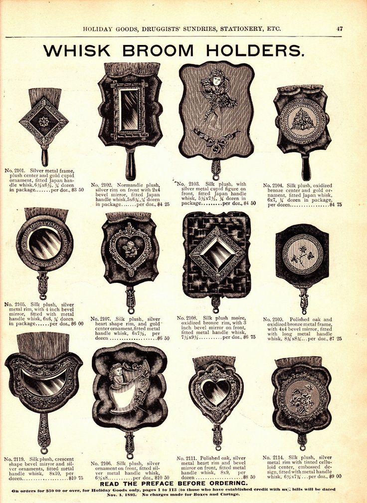 1893 Vintage Marshall Field Catalog Pg ~ Whisk Broom Holder ~ Silk Plush ~ Horn