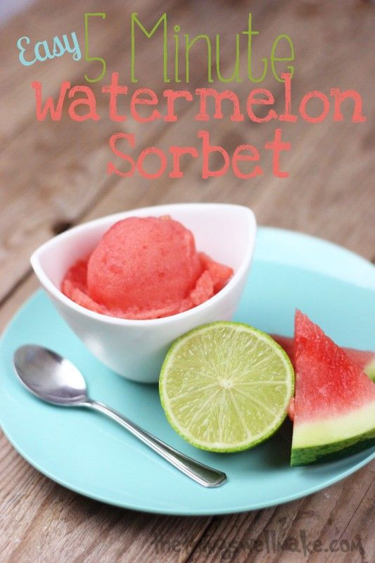 With just a little prep time ahead of time, you can quickly whip up this 5-Minute, Easy Watermelon Sorbet at the last minute using only a couple of ingredients! Sometimes the simplest recipes are the best!