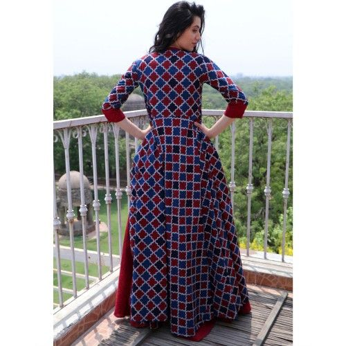 The Secret Label Wine Red Cotton Printed Jacket Style Kurta