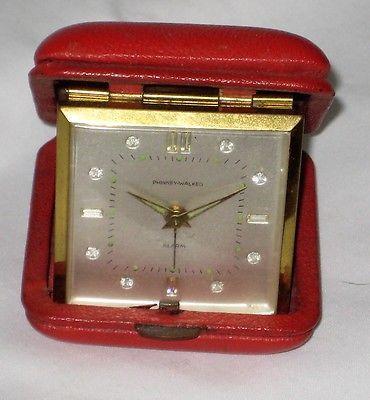 Vintage Red Semca Phinney Walker Germany Folding Travel Alarm Clock - WORKING