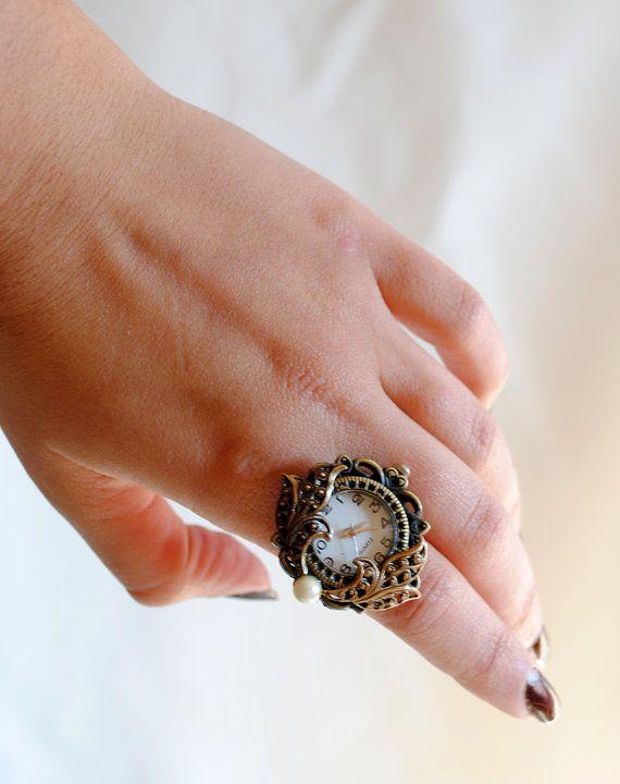 Anillo victoriano reloj bronce con filigrana por BizarreNoir