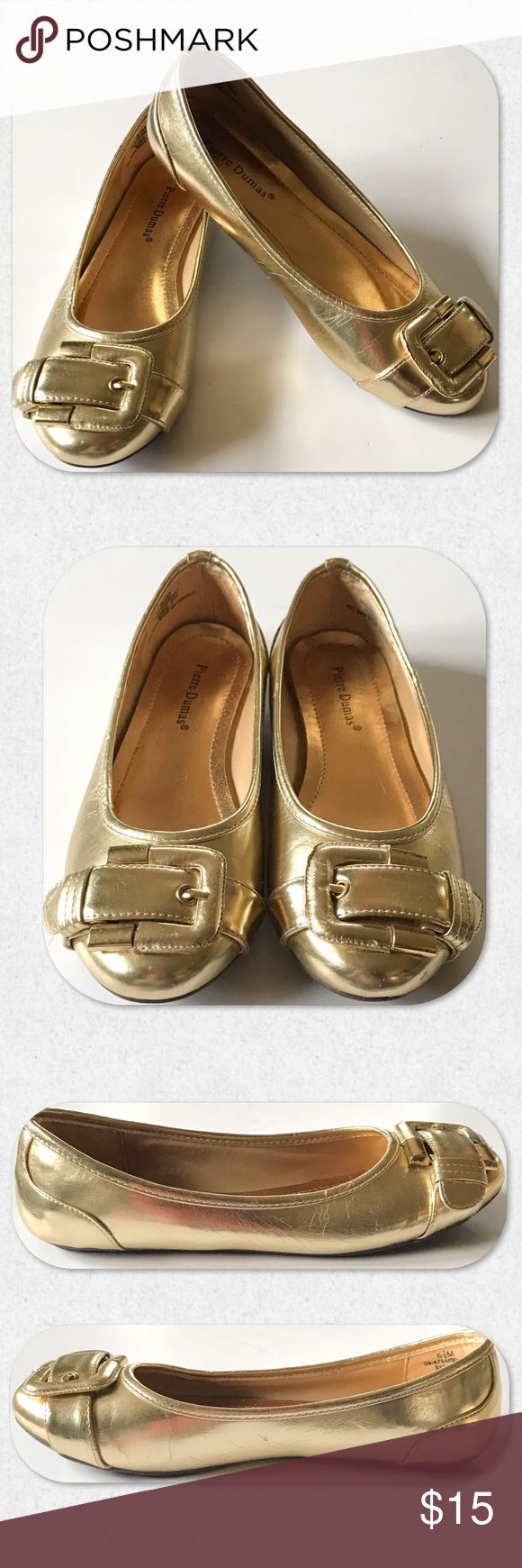 "Pierre Dumas ""Eden"" Metallic Gold Ballet Flats Pierre Dumas Eden metallic gold ballet flats with a decorative buckle at top of foot. Rubber sole. Very flexible and comfortable. Size 6 1/2. Worn one time. Virtually brand new! Still has stickers on bottoms. Pierre Dumas Shoes Flats & Loafers"