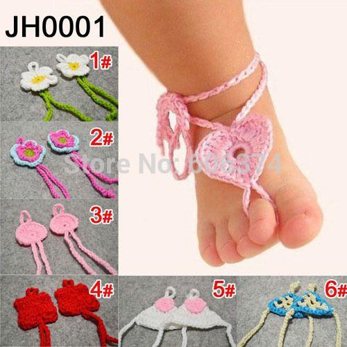 El nuevo venir lindo bebé sandalias descalzas calzado de playa del diseño del corazón de ganchillo hechos a mano los niños pie flor del envío gratis(China (Mainland))