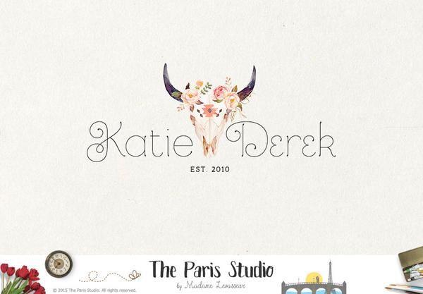 Watercolor Floral Antler Logo Design for artisan boutique branding, e-commerce website logo, wordpress blog logo, boutique logo, photography branding, wedding logo, website branding design.