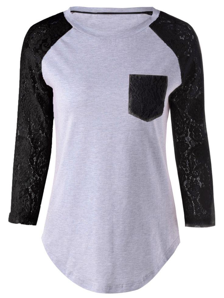 $12.48 Plus Size Lace Splicing Single Pocket T-Shirt