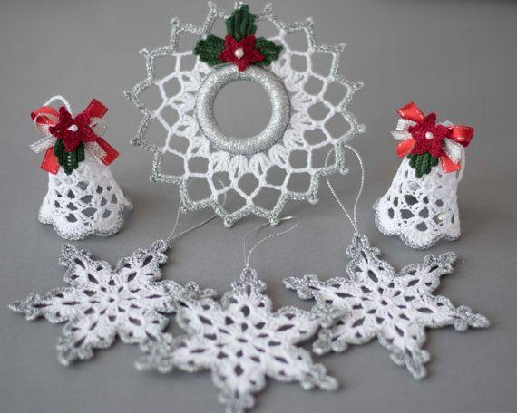 Set di 6 ornamenti decorazione d'argento bianco impostato