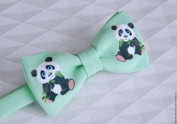 """Купить Галстук-бабочка детский """"Панды"""" - мятный, рисунок на ткани, панда, галстук-бабочка"""