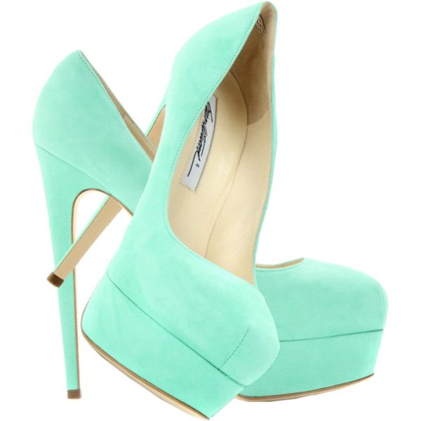 Mint shoes Brian Atwood Hamper 150 Marilyn suede platform green pumps ❤ liked on Polyvore