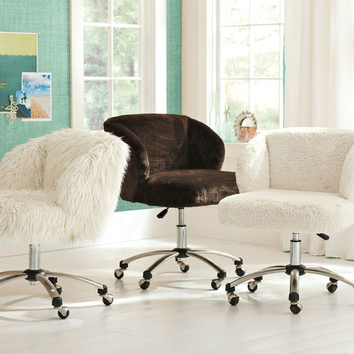 Ivory Sherpa Faux Fur Wingback Swivel Desk Chair With