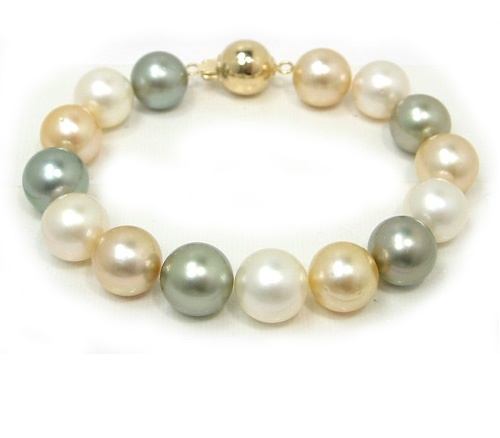 10-10.5mm Round South Sea Pearl Bracelet - Golden, White and Black South Sea Pearls