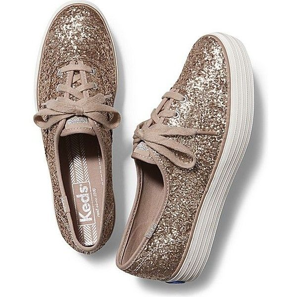 Keds Champion Triple Glitter ($65) ❤ liked on Polyvore featuring shoes, sneakers, champagne, glitter sneakers, keds, glitter shoes, keds footwear and keds sneakers